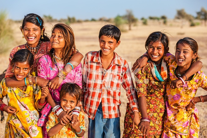group-of-happy-indian-children-desert-village-india